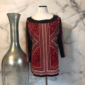 Rafaela Studio Red &Black Blouse Size 1X